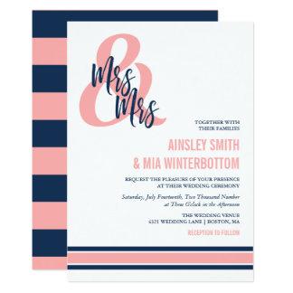 Cartão Sra. formal do coral & do marinho & Sra. Casamento