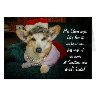 Cartão Sra. Garra Corgi Natal Cumprimento
