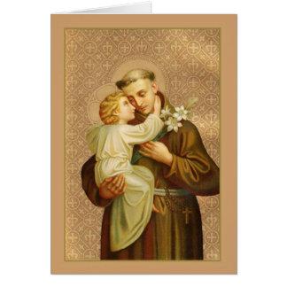 Cartão St Anthony do bebê Jesus de Pádua