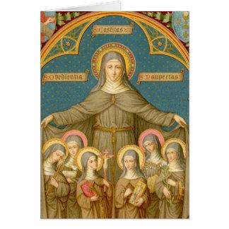 Cartão St. Clare de Assisi & do cumprimento das freiras