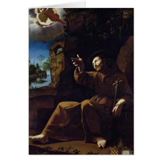 Cartão St Francis de Assisi consolou por um anjo