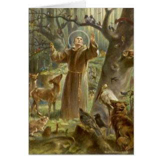 Cartão St Francis de Assisi que Preaching aos animais