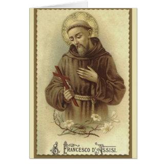 Cartão St Francis do santo padroeiro de Assisi dos