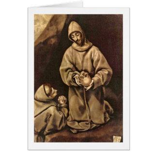 Cartão St Francis e irmão Leo por El Greco