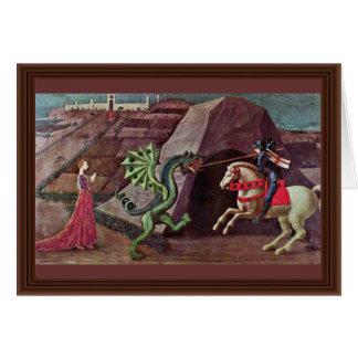 Cartão St George e o dragão por Uccello Paolo