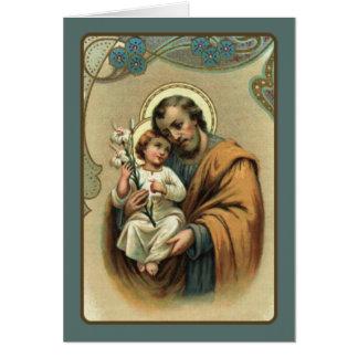 Cartão St Joseph com bebê Jesus