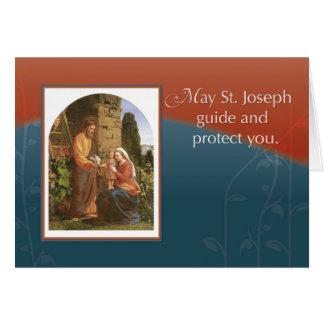 Cartão St Joseph com Mary e Jesus e espírito