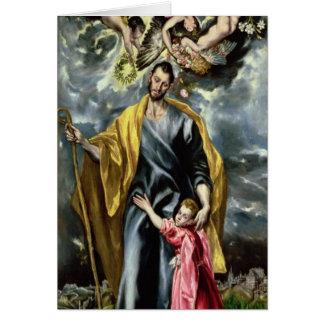 Cartão St Joseph e a criança do cristo, 1597-99