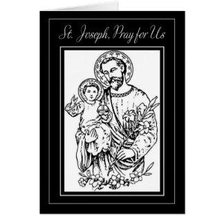 Cartão St Joseph Pray para nós a ilustração branca preta