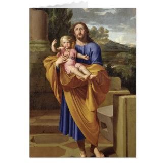 Cartão St Joseph que leva o Jesus infantil, 1665