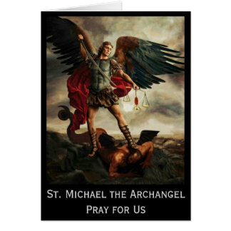 Cartão St Michael o protetor da espada do arcanjo