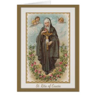 Cartão St. Rita de Cascia w/angels & crucifixo