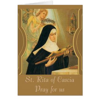 Cartão St. Rita de Cascia w/Crown do anjo dos espinhos