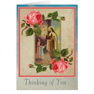 Cartão St. Therese com crianças & Eucaristia de Jesus da