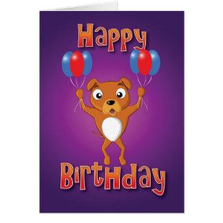Cartão Staffordshire bull terrier - balões - bday feliz