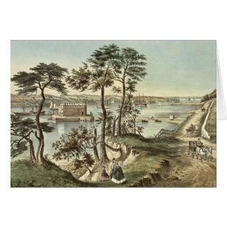 Cartão Staten Island e os estreitos do forte Hamilton