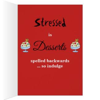 Cartão Stressed é sobremesas soletradas para trás