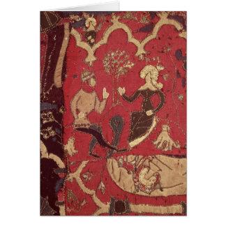 Cartão Stumpwork que descreve Tristan e Isolde
