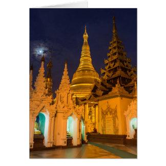 Cartão Stupa dourado e templos