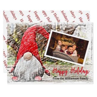 Cartão Sua foto com gnomo do Natal boas festas