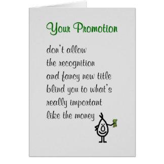 Cartão Sua promoção - um poema engraçado dos parabéns