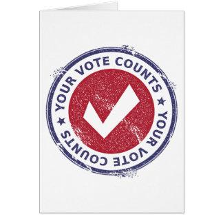 Cartão suas contagens do voto