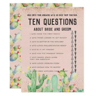 Cartão Suas e suas dez perguntas que Wedding o jogo