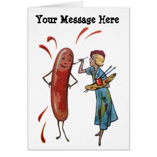 Cartão Suas palavras com a mulher da pintura do cachorro