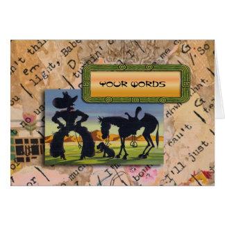 Cartão Suas palavras na caricatura retro do vaqueiro