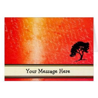 Cartão Suas palavras na chama alaranjada com o Nib da