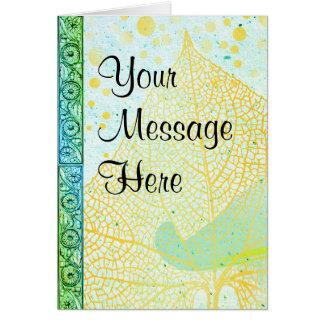 Cartão Suas palavras no papel do aqua e em botânico retro