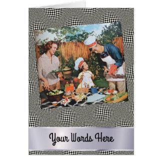 Cartão Suas palavras no piquenique feliz da família da