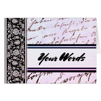 Cartão Suas palavras no roteiro da lavanda e em botânico