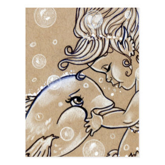 Cartão subaquático da sereia do golfinho dos