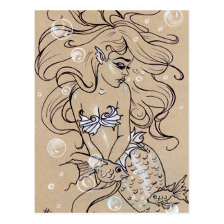 Cartão subaquático dos peixes da sereia