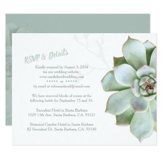 Cartão Succulent chique que Wedding RSVP & acomodações