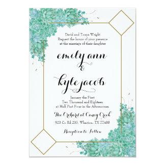 Cartão Succulent e ouro que Wedding Invitiation