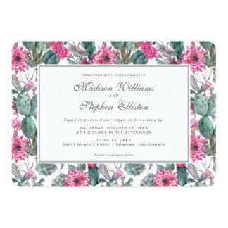 Cartão Succulent & floral boémios - casamento