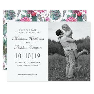 Cartão Succulent & floral boémios - salvar a data