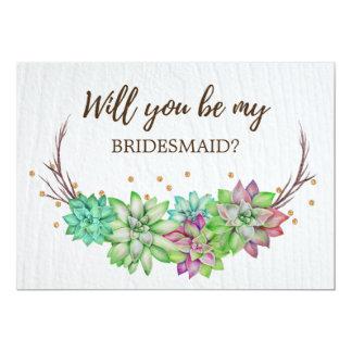 Cartão Succulent floral rústico você será minha dama de