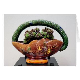 Cartão Succulent na cesta pela planta perfeita