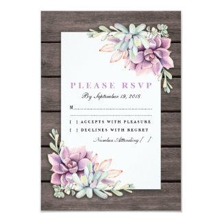 Cartão Succulent rústico RSVP Wedding floral do país