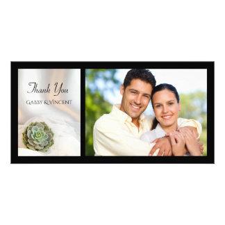 Cartão Succulent verde no obrigado branco do casamento