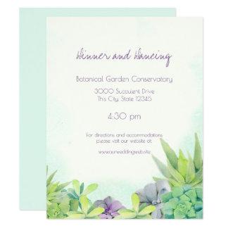 Cartão Succulents que Wedding a aguarela
