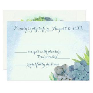 Cartão Succulents que Wedding a aguarela azul RSVP