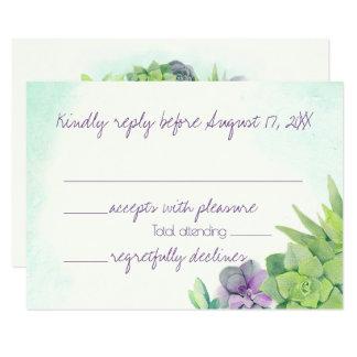 Cartão Succulents que Wedding a aguarela RSVP