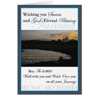 Cartão Sucesso do nascer do sol do Monte Quénia
