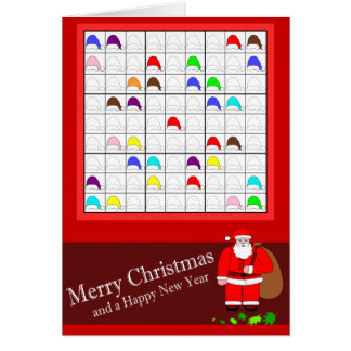 Cartão Sudoku colorido para o Natal