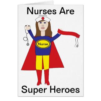 Cartão Super-herói das enfermeiras (Brunette)