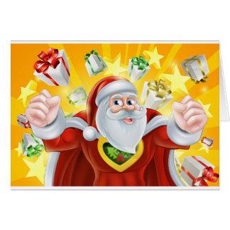 Cartão Super-herói Papai Noel do Natal